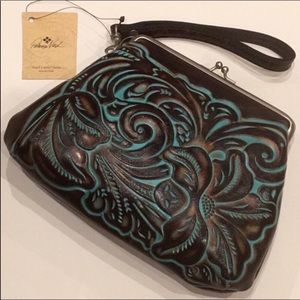 🆕Patricia Nash Turquoise Brown Italian Tooled Leather Wristlet/ Clutch